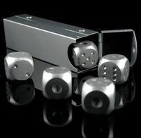 domino game set - 5 Set Aluminum Alloy Silver Color Solid Dice Poker Party Game Toy Dominoes Table Board Game Portable Dice Man Boyfriend Gift