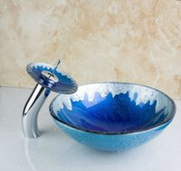 Wholesale 4210 Blue Painting Color Round Bathroom Art Washbasin Clear Tempered Glass Vessel Sink With Waterfall Chrome Faucet Set