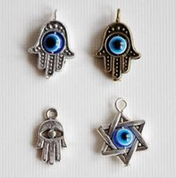 antique religious pendants - 100PCS Mixed Antiques Silver Kabbalah Hamsa Hand Fatima Evil Eye Star of David Hexagram Religious Charms Pendant