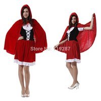 Wholesale Women holiday dress cape adult little red riding hood cosplay costume female fantasia halloween costumes for cm women