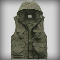 Wholesale Fall Men Outdoor Equipment Cotton Professional Photography Multi Pocket Vest Work Wear Detachable Cap Waistcoat Casual Work Clothes