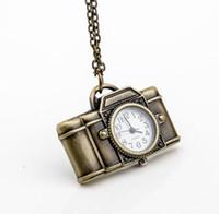 antique child sale - Hot sales Fashion quartz design bronze cartoon SLR cameras children students pendant clock Necklace pocket watch