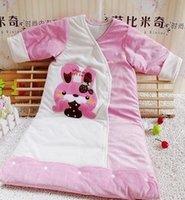 Cheap Wholesale-Small size baby velvet+cotton cartoon Sleeping Bags  air conditioning sleeping bag baby pajamas free shipping