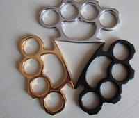 art equipment - 2pcs black gold silver Martial arts equipment Knuckles Punch button man steel finger men jewelry