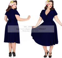 audrey hepburn prom dress - Vintage s Style Plus Size Party Dresses Rockabilly Navy Blue Audrey Hepburn Swing Dress V Neck Tea Length Short Prom Evening Gowns