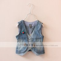 denim fabric - Trendy Girls Denim Fabric Waistcoats Summer Autumn Children Clothes Stripes Flower Brooch Coat Waistcoat Jacket Overwear Overcoat Blue K3220