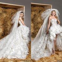 corset high low wedding gowns - 2015 Gorgeous Zuhair Murad Sweetheart Ball Gown Corset Wedding Gowns Lace Bodice Ruffles Organza High Low Wedding Dresses EM05033