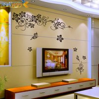 flower stickers wall - Classical black flower vine TV background wall decal ZooYoo027L decorative adesivo de parede removable pvc wall sticker
