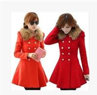 Wholesale Fashion Ladies Casacos Femininos Elegant Long Sleeve Slim Woollen Coat Double Breasted Winter Women Coats
