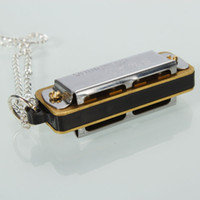 Wholesale Hot Sale Swan Mini Harmonica Necklace Hole Tone Children Musical Instruments Silver Brand New