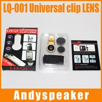 Wholesale 1pcs New LIEQ up I LQ In Universal Clip Lens for Mobile Phone Smartphone Fish Eye Macro Lens Wide Angle with retail Package