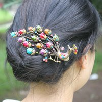 Wholesale New Hot Retro Fashion Ladies Vintage Colorful Rhinestone Peacock Barrette Hairpin Hair Clip Jewelry Hair Accessories DHF155