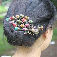 Wholesale TOP Court Vintage Hair Jewelry Crystal Large Wings Peacock Metal Hair Clip Hairpins SF155