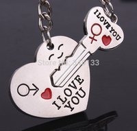 keychain - 2016 Hot Sale Zinc Alloy Silver Plated Lovers Gift Couple I Love You Heart Keychain Fashion Keyring Key Fob Creative Key Chain