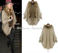 cotton batting - Free Size Ladies loose Sweater Cardigan Knitting Cardigan Bat Shirt Cape Snd Poncho Outwear Batwing Sleeve Sweater