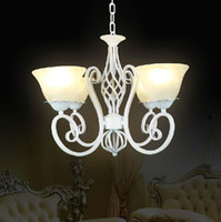 antique glass sconces - New Wrought Iron Chandelier White Candelabra Vintage Antique Glass Flower Sconce Price E14 LED Light
