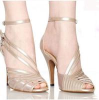 Wholesale Plus size women dancing shoes Fashion Soft Sexy comfortable Satin salsa Latin Tango Ballroom dance shoes High heels