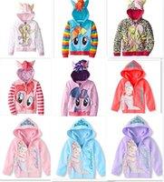 Wholesale 40pcs new arrive outerwear My little pony princes Cinderella Sweater hoodies sportswear girls Cartoon Hooded coat jacket D365