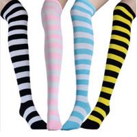ladies knee socks - LADIES WOMENS OVER THE KNEE STRIPEY SOCKS LADIES THIGH HIGH STRIPED SOCK Stockings