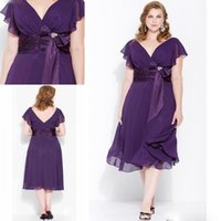 Wholesale Plus Size Purple Short Mother Of Bride Dresses Tea Length V Neck Batwing Sleeves Sash Bow Chiffon Formal Evening Dress For Ladies