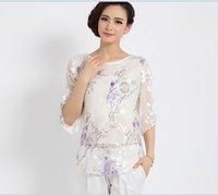Wholesale 2015 Newest high quality summer fashion flowers printing elegant women s silk shirt