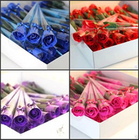 Wholesale 30 Pieces Decoration flower Artificial flower Valentine s day gifts Hot Single Drum Red Blue Purple Pink Rose Soap Small Gifts BG5838