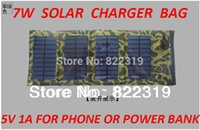 Wholesale 7W High efficiency outdoor solar panel charger Folding solar charging bag for iphone Android