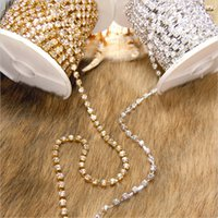 Wholesale Clear Crystal Glass Rhinestone Compact Close Silver Chain Trims Applique