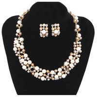 Wholesale Lureme EuropeStyle Studded With Pear Bride Jewelry Alloy Necklace Earrings Suit