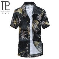 aloha beach - New Brand Summer Quick Dry Men Loose Aloha Shirt Palm Tree Hawaiian Party Sand Beach Shirts Big Size L XL Beach Shirts C011