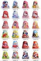 Wholesale Free DHL Mickey Hello Kitty Princess Cars Super Mario Bird Children Drawstring Backpack School Bag Kids Totes cm