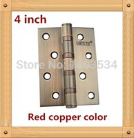 antique copper hinges - 4 inch furniture hinge stainless steel hinge Red copper color door hinge