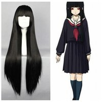 Acheter Perruque anime girl black-Noir Cosplay Perruques Hell Girl Supia-yisol 80CM Halloween Cosplay synthétique Cheveux longs Anime Cartoon Carnival Party cosplay cheveux raides Perruques