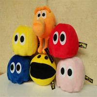 bear pixel - 6pcs New Movie Pixels Plush Toys Pacman Stuffed Toy Doll CM Deluxe Small Ghost And Pac Man Children Christmas Gift