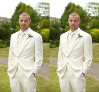 Reference Images Tuxedos Three-piece Suit Vintage White Wedding Suits for Men Cheap Custom Made Notched Lapel 2015 Groom Party Tuxedos (Jacket+Pants+Tie+Vest)
