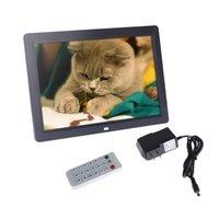 al por mayor 12 marco de fotos digital-Control de TFT-LCD de 12 pulgadas HD 1280 * 800-A la vista de fotos digital La alarma del marco del reloj MP3 MP4 reproductor de películas remoto Negro / Blanco D1815