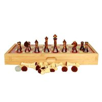 bamboo chess set - Big size jumbo educational standard eco friendly bamboo international folding chess set with wooden chess pieces for kids