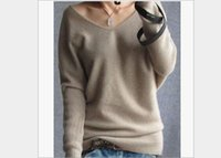 100 cashmere sweater - Autumn winter cashmere sweater women fashion sexy v neck sweater loose wool sweater batwing sleeve plus size pullover