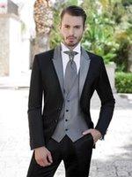 best clothes design - New Design Slim Fit Black Groom Tuxedos Peaked Lapel Best Men s Wedding Dresses Prom Clothing Jacket pants tie Vest NO800
