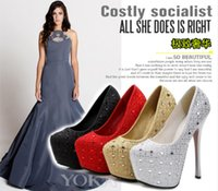 Wholesale 16 cm High Heels with the club for women s shoes diamond wedding shoes spring light mouth round head thin with waterproof