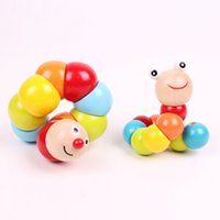 Wholesale 2015 New Variety Twist Rainbow Insects Wooden Block Toys Educational Caterpillar kids Learning Toys
