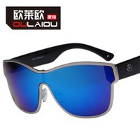 Wholesale OULAIOU Unisex Large Metal Frame UV400 Fashion Square Sunglasses Outdoor Sports Eyewear glasses camping Hiking Eyewear