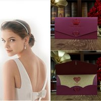 blank cards - Elegant Purple Wedding Invitations Print Flower Blank Inner Sheet Wedding Invitation Card Wedding Cards DHL