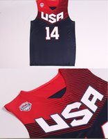 Wholesale Anthony Davis Basketball World Cup USA Dream Team American White and Blue Jerseys