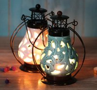Wholesale Decorative Metal Tealight Holder Hanging Candle Lantern Candleholder Home Table Candle Holders