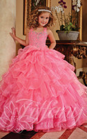 Wholesale 2015 Custom Made Pink pageant dresses for teens Ball Gowns Beading Tiered Lace Up Back Stylish Dress kids prom dresses princess gowns