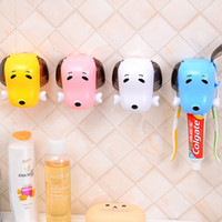 Wholesale Lovely Puppy Dog Plastic Toothbrush Holder Home Bathroom Toothpaste Convenient Dispenser Wall Suction