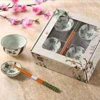 Wholesale Japanese Dinnerware Set Hand painted Sakura Flower Green