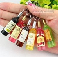 mini wine bottles - Mini Cell Phone Charms Creative Promotional Gift Emulational Wine Beer Bottle Pendant Accessories Small Bottle Charms Color