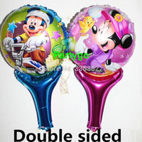 Wholesale cm Mickey and Minnie Mouse Aluminum Foil Balloons mickey mouse Party Ball minnie mouse stick balloon
